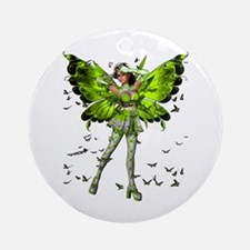 Butterfly Kisses Peridot Ornament (Round)
