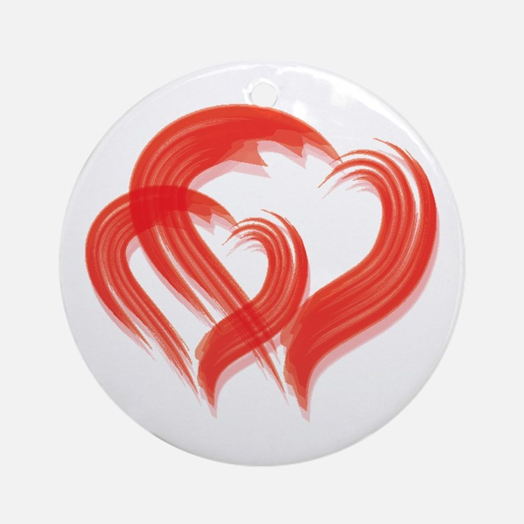 DOUBLE BRUSH-STROKE HEARTS Ornament (Round)