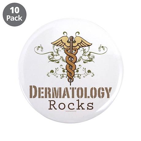 """Dermatology Rocks Caduceus 3.5"""" Button (10 pack)"""