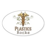 Plastics Rocks Caduceus Oval Sticker (10 pk)