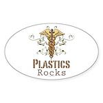 Plastics Rocks Caduceus Oval Sticker (50 pk)
