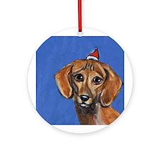 DACHSHUND Xmas Santa Hat Ornament (Round)
