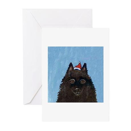 Schipperke xmas santa hat Greeting Cards (Package