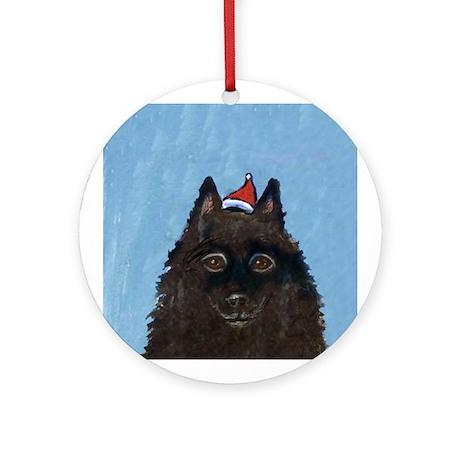 Schipperke xmas santa hat Ornament (Round)