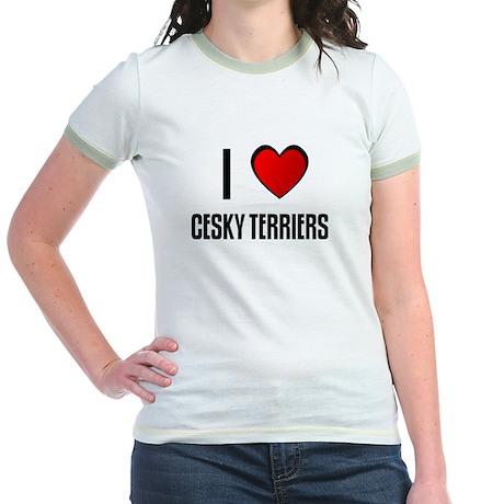 I LOVE CESKY TERRIERS Jr. Ringer T-Shirt