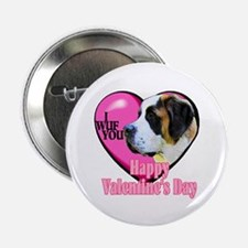 "Saint Bernard Valentines 2.25"" Button (10 pack)"