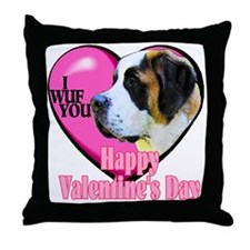 Saint Bernard Valentines Throw Pillow