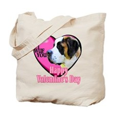 Saint Bernard Valentines Tote Bag
