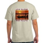 LIVE TO FISH! Ash Grey T-Shirt