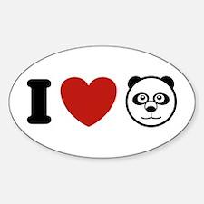 I Love Pandas Oval Decal