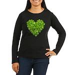 Brussel Sprouts Heart Women's Long Sleeve Dark T-S