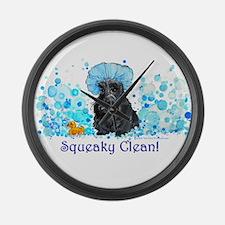 Scottish Terrier Bubble Bath Large Wall Clock
