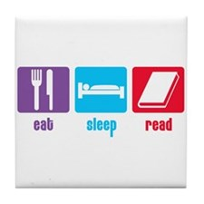 Eat Sleep Read Tile Coaster