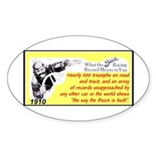 """1910 Buick Racing Ad"" Oval Decal"