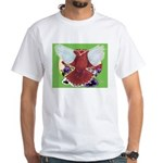 Flight Pigeon and Flowers White T-Shirt