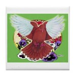 Flight Pigeon and Flowers Tile Coaster