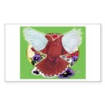 Flight Pigeon and Flowers Rectangle Sticker 50 pk