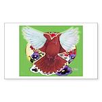 Flight Pigeon and Flowers Rectangle Sticker 10 pk