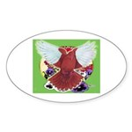 Flight Pigeon and Flowers Oval Sticker (50 pk)
