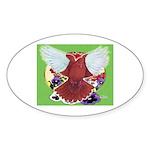 Flight Pigeon and Flowers Oval Sticker (10 pk)