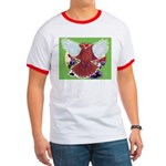 Flight Pigeon and Flowers Ringer T
