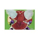 Flight Pigeon and Flowers Rectangle Magnet (100 pa