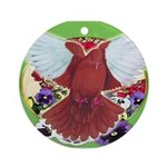 Flight Pigeon and Flowers Ornament (Round)