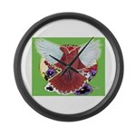Flight Pigeon and Flowers Large Wall Clock