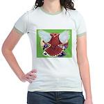 Flight Pigeon and Flowers Jr. Ringer T-Shirt