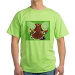 Flight Pigeon and Flowers Green T-Shirt