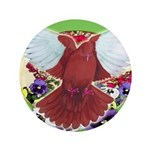 """Flight Pigeon and Flowers 3.5"""" Button"""