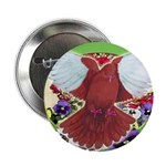 """Flight Pigeon and Flowers 2.25"""" Button"""