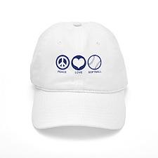 Peace Love Softball Baseball Cap