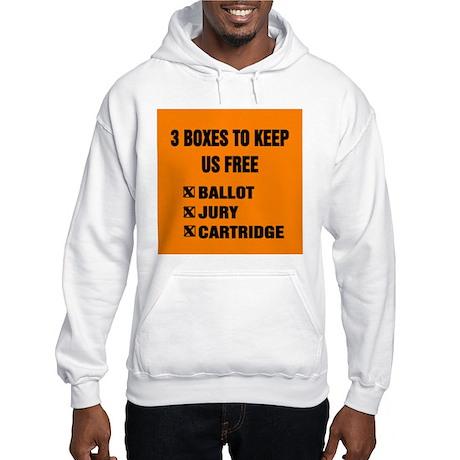 3 BOXES TO KEEP US FREE! Hooded Sweatshirt