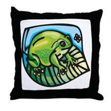 Chubby Green Frog Throw Pillow