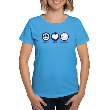 Peace Love Baseball Women's Dark T-Shirt