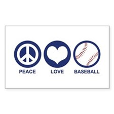 Peace Love Baseball Rectangle Decal