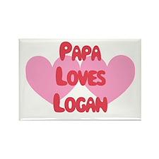 Papa Loves Logan Rectangle Magnet