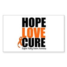 Kidney Cancer HopeLoveCure Rectangle Sticker 10 p