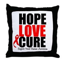 HopeLoveCure HeartDisease Throw Pillow