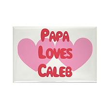 Papa Loves Caleb Rectangle Magnet