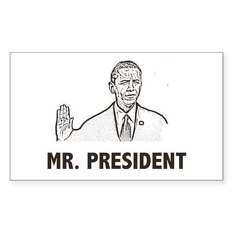 Barak Obama Mr. President Rectangle Sticker