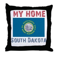 My Home South Dakota Vintage Throw Pillow