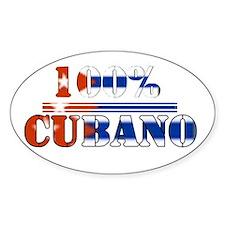 100% Cubano Oval Bumper Stickers