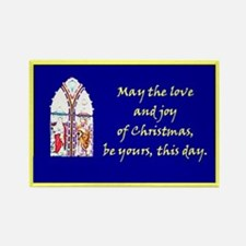 Mary and Joseph Stained Glass Rectangle Magnet