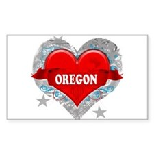 My Heart Oregon Vector Style Rectangle Decal