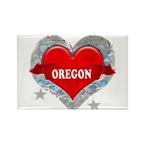 My Heart Oregon Vector Style Rectangle Magnet