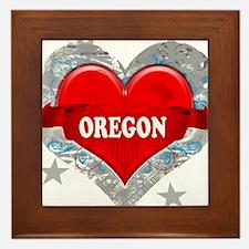 My Heart Oregon Vector Style Framed Tile