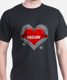 My Heart Oregon Vector Style T-Shirt