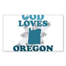 God Loves Oregon Rectangle Decal